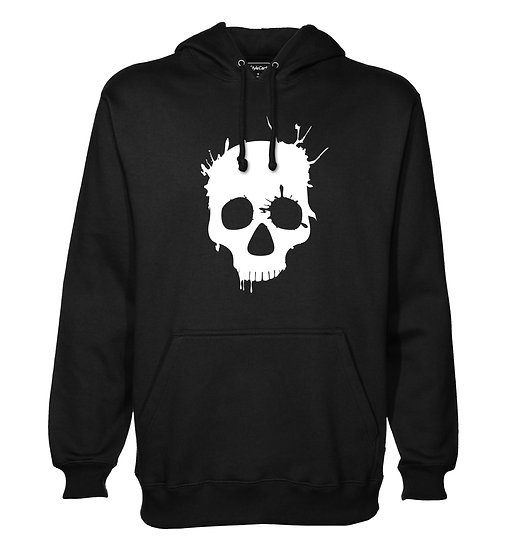 Skull Paint Splash Printed Designed Cotton Hoodie or Sweatshirts for Men
