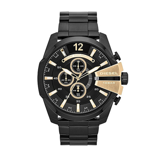 Diesel Mega Chief Analog Black Dial Men's Watch - DZ4338
