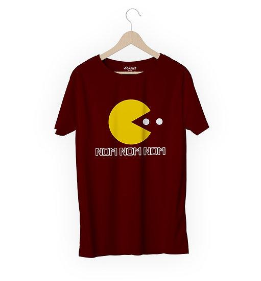 Nom Nom Pacman Half Sleeves Round Neck 100% Cotton Tees