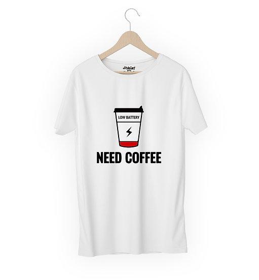 Need Coffee Half Sleeves Round Neck Unisex 100% Cotton T-shirt