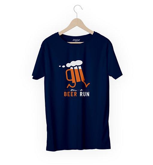 Beer Run Half Sleeves Round Neck Unisex 100% Cotton T-shirt