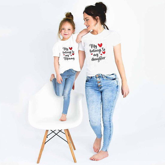 My Love Belongs To My Daughter And My Love Belongs To My (Combo of 2 T-shirts)