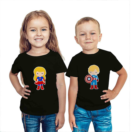 Super Girl And Super Hero (Combo of 2 T-shirts)