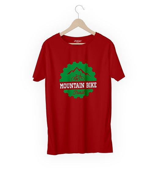 Mountain Bike Trail Half Sleeves Round Neck Unisex 100% Cotton T-shirt