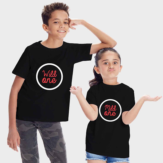 Wild One And Mild One (Combo of 2 T-shirts)