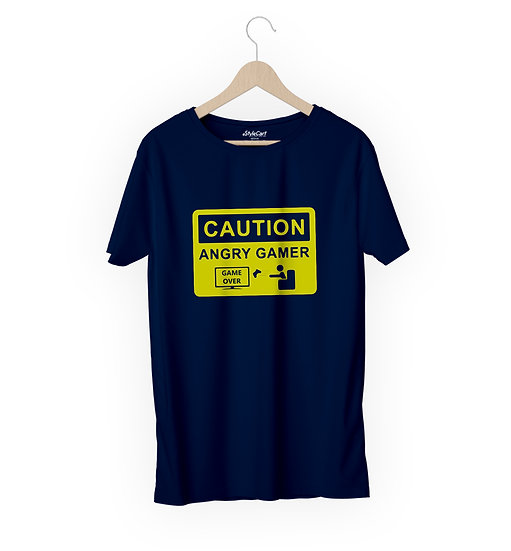 Caution Angry Gamer Half Sleeves Round Neck 100% Cotton Tees