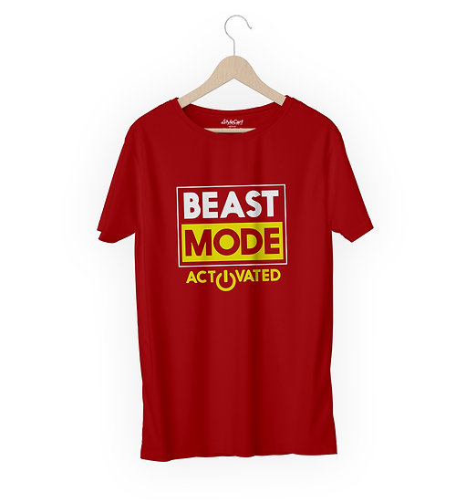 Beast Mode Activated Half Sleeves Round Neck 100% Cotton Tees