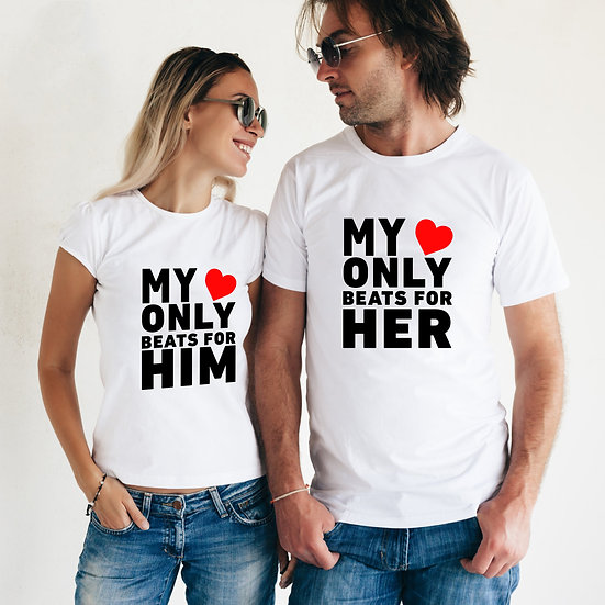 My Heart Beats For Him & Her (Combo of 2 T-shirts)