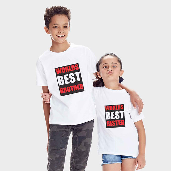 World Best Brother And World Best Sister (Combo of 2 T-shirts)