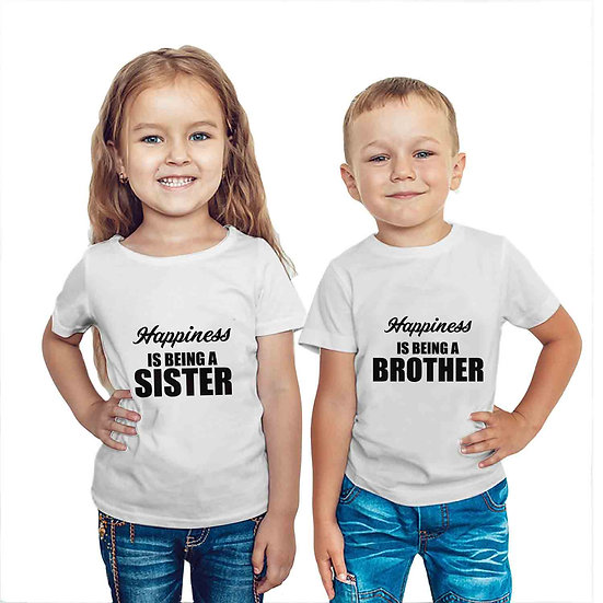 Happiness Is Being A Bro & Sis (Combo of 2 T-shirts)