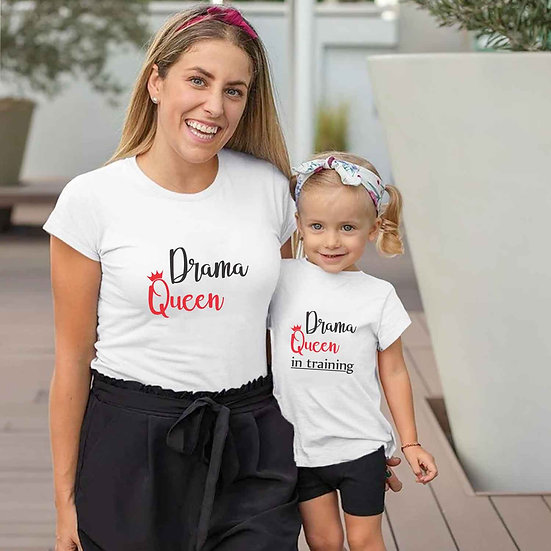 Drama Queen And Drama Queen In Training (Combo of 2 T-shirts)