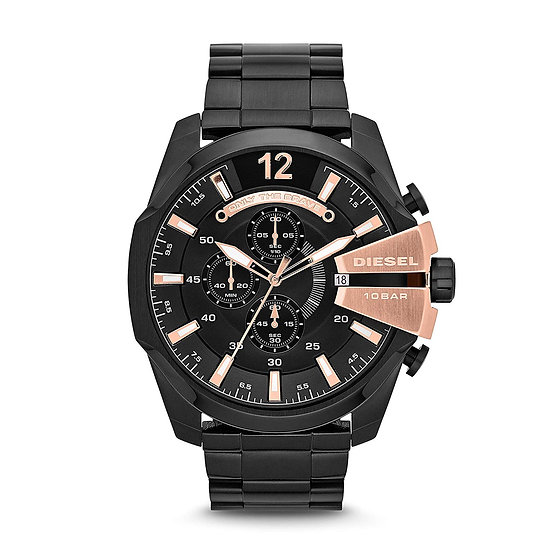 Diesel Mega Chief Analog Black Dial Men's Watch - DZ4309