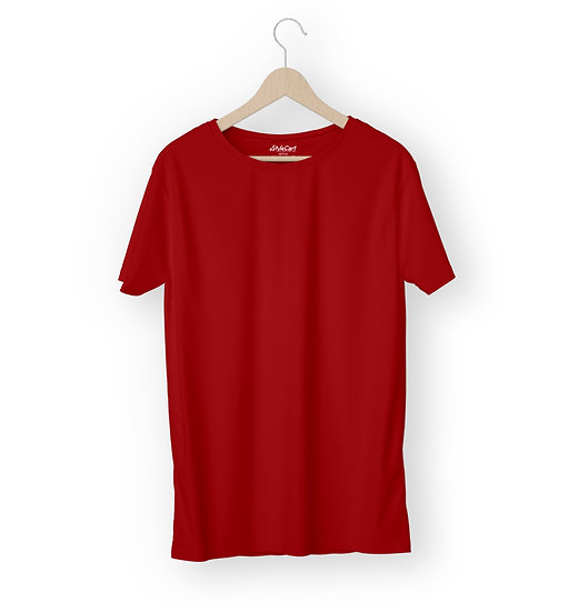 Red Plain T-shirt Half Sleeves Round Neck 100% Cotton Tees
