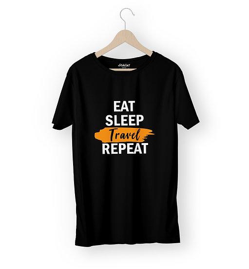 Eat Sleep Travel Repeat Half Sleeves Round Neck Unisex 100% Cotton T-shirt