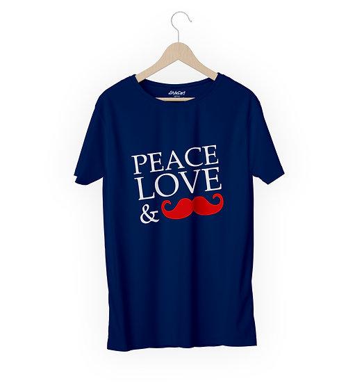Peace Love & Moustache Half Sleeves Round Neck Unisex 100% Cotton T-shirt