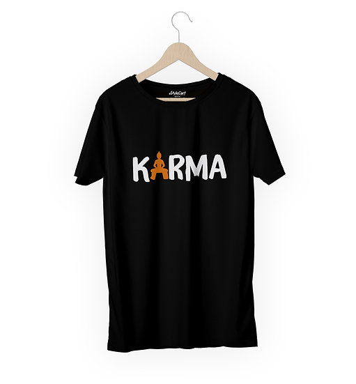 Karma Half Sleeves Round Neck 100% Cotton Tees