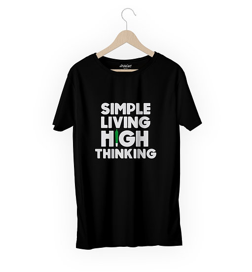 Simple Living high Thinking Half Sleeves Round Neck 100% Cotton Tees