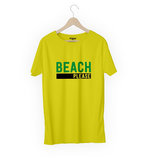 Beach Please Half Sleeves Round Neck 100% Cotton Tees