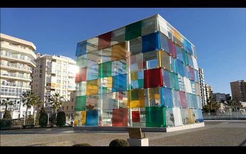 Malaga Pompidou museum colored cube