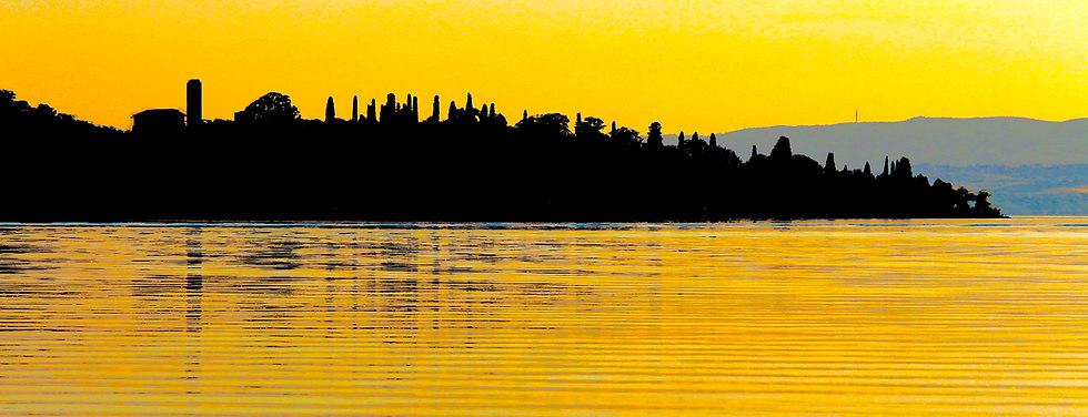 Original yellow landscape on lake Italy