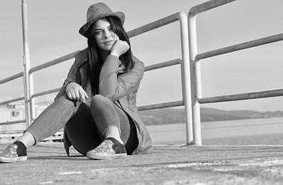 Angela bw shot on lake platform