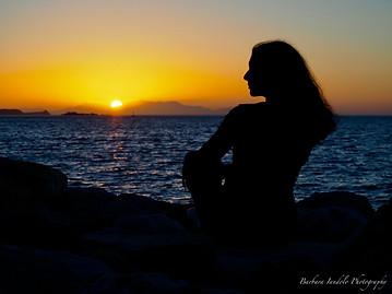 Beautiful lady at sunset