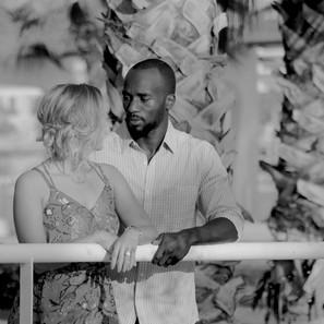 Romantic couple b&w portrait