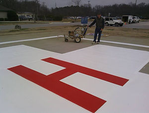 Helicopter Pad Striping and Stenciling