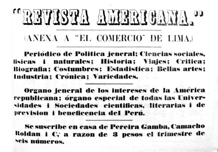"""Anuncia suscripciones a la """"Revista Americana"""". (Biblioteca Nacional de Colombia)."""
