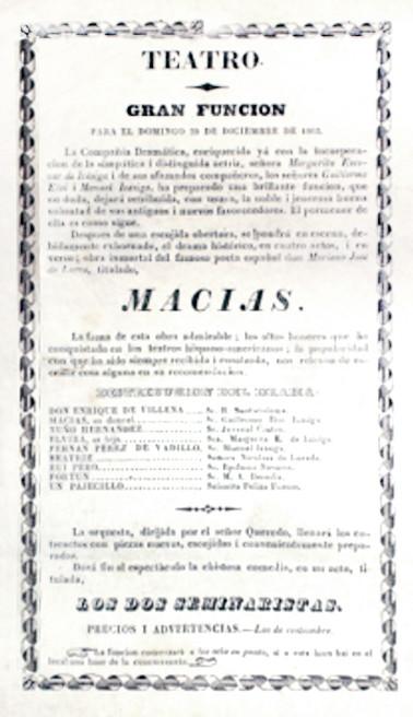 1863. Función de la Compañía Dramática Nacional. (Archivo Guillermo Hernández de Alba. Biblioteca Luis-Ángel Arango).