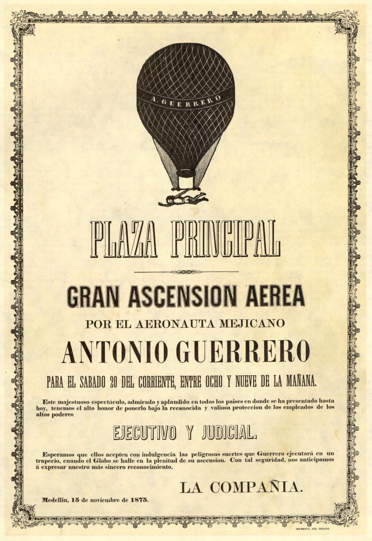 """1875. Aeronauta Antonio Guerrero. (""""Libro de oro de Medellín: en el tricentenario de su erección en Villa"""", 1675. Noviembre de 1975. Biblioteca Luis-Ángel Arango)."""