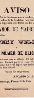 1894. Función de la Compañía Azuaga (cubana) en Bucaramanga.