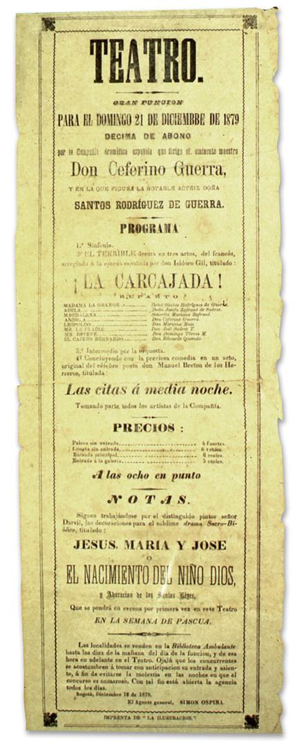 1879. Función de la Compañía de Ceferino Guerra. (Archivo del Teatro de Cristóbal Colón).