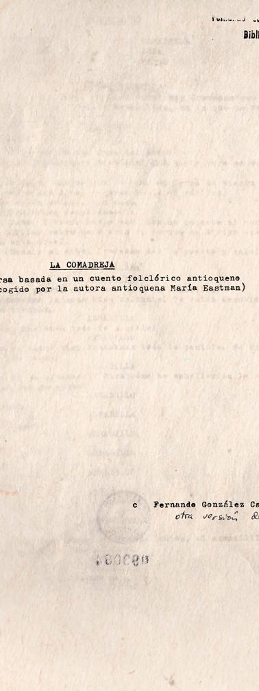 Primera página de una nueva versión de la obra. Copia mecanográfica. Colección ICC – Biblioteca José Manuel Rivas Sacconi.