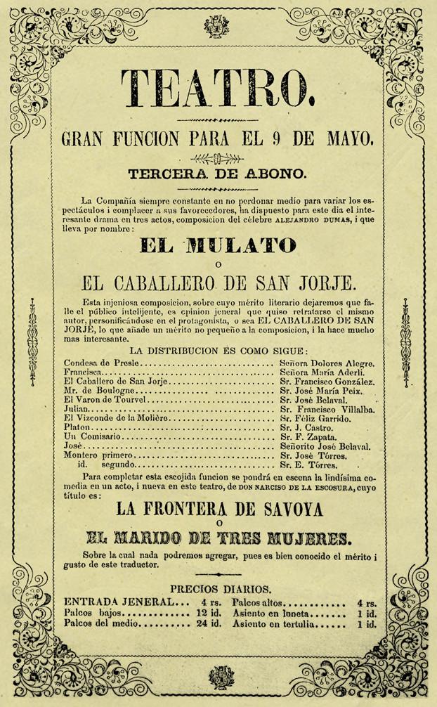 1849. Función de la Compañía de Francisco Villalba. (Archivo José Ignacio Perdomo. Biblioteca Luis-Ángel Arango).