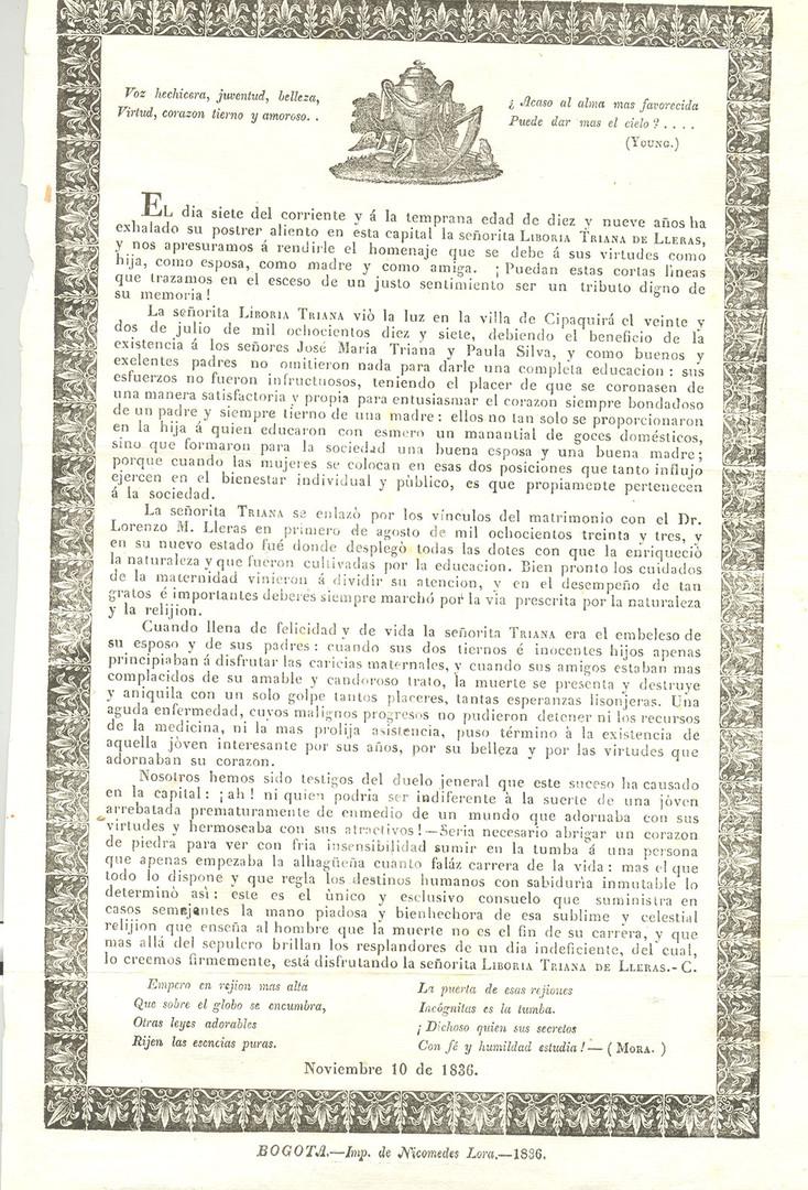 1836. Nota sobre la muerte de Liboria Triana de Lleras, esposa del director de teatro Lorenzo María Lleras. (Biblioteca Luis-Ángel Arango).