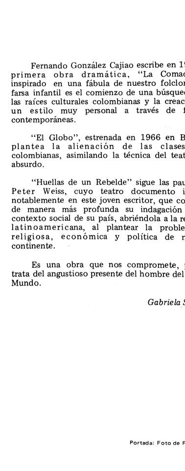 """Cubierta del libro """"Huellas de un rebelde"""", publicada por Ediciones Tercer Mundo, 1970."""
