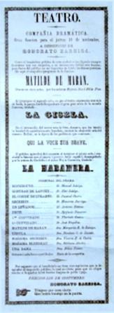 1863. Función de la Compañía Dramática Nacional. Gerente: Honorato Barriga. (Archivo Guillermo Hernández de Alba. Biblioteca Luis-Ángel Arango).