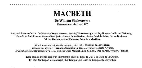 Macbeth Enrique Buenaventura teatro colombiano Fernando González Cajiao