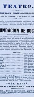 1866. Función dedicada al actor Honorato Barriga por la Compañía Castell. (Archivo José Ignacio Perdomo. Biblioteca Luis-Ángel Arango).