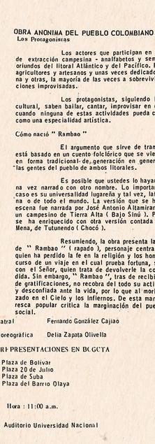 """Programa de mano de """"Rambao"""". Colección ICC – Biblioteca José Manuel Rivas Sacconi."""