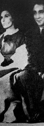 """Escena de la representación de """"El globo"""". De izquierda a derecha Rodrigo Carmona, Maruja Toro, Carmen de Lugo y Jaime Ibarra. Tomada de: González Cajiao, Fernando. """"Historia del teatro en Colombia"""" (1986), pág. 314."""