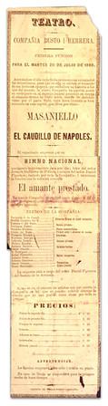 1869. Función de la Compañía Busto y Herrera. (Biblioteca Luis-Ángel Arango).