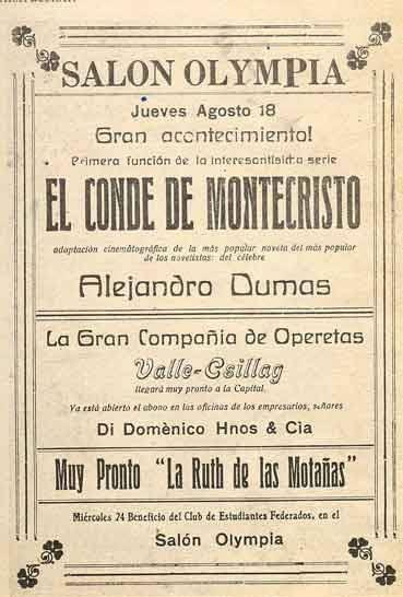 1921. Función de la Compañía de Operetas Valle-Ceillag. Salón Olympia. (Biblioteca Luis-Ángel Arango).