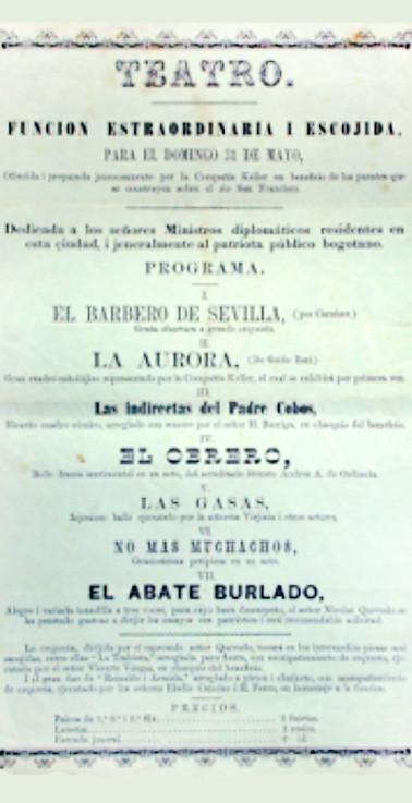 1863. Función de la Compañía Dramática Nacional y la Compañía Keller. (Archivo Guillermo Hernández de Alba. Biblioteca Luis-Ángel Arango).