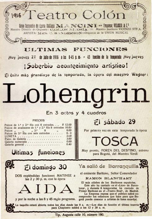 1916. Función de la Compañía de Ópera Mancini. (Biblioteca Luis-Ángel Arango).