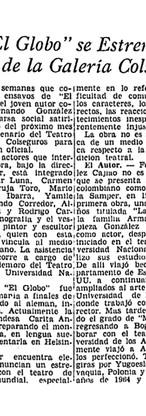 """Corto artículo publicado en """"El Tiempo"""" (Bogotá), 29 de marzo de 1966, pág. 15, con motivo del estreno de """"El globo""""."""