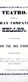 1863. Venta de abonos de la Compañía Keller, cuya especialidad eran los cuadros mimoplásticos, bailes y pantomimas. (Biblioteca Luis-Ángel Arango).