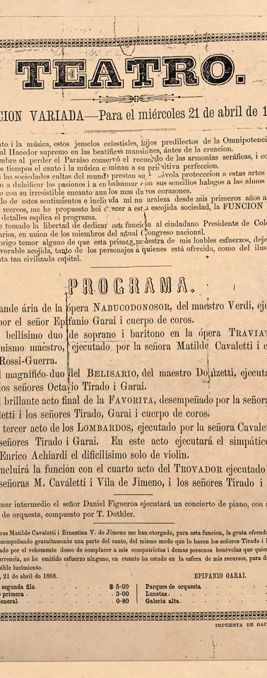 1869. Programa de una función a favor del pintor y cantante de ópera Epifanio Garay. (Biblioteca Luis-Ángel Arango).
