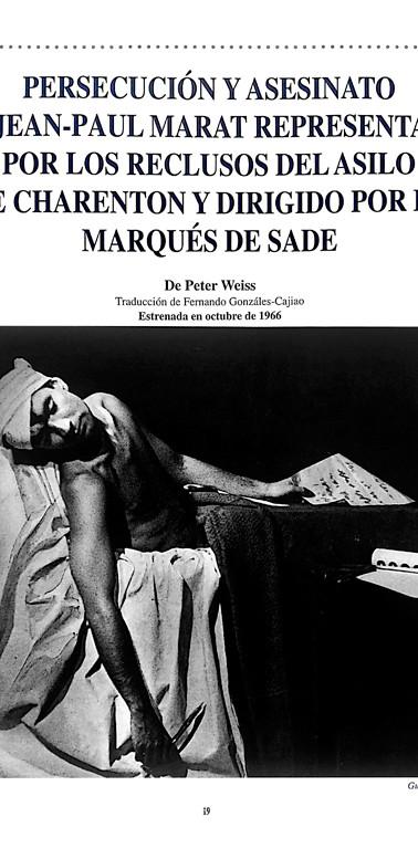 """Foto tomada del libro """"Teatro La Candelaria 1966-1996"""" (1997), Santafé de Bogotá: Instituto Colombiano de Cultura y Teatro La Candelaria, p. 19."""
